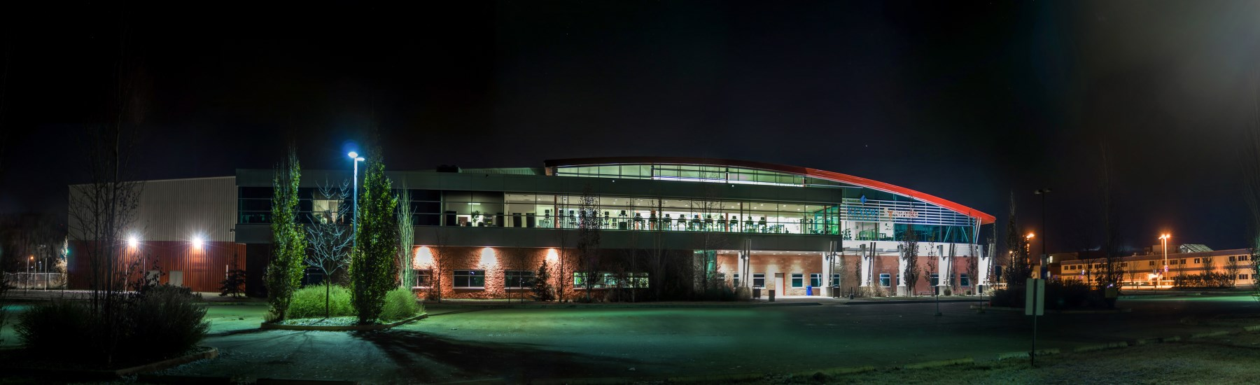 sport and wellness centre at night