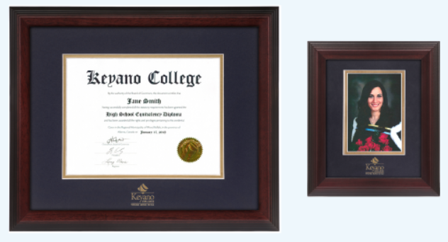 A framed Keyano College degree alongside a framed graduation photo