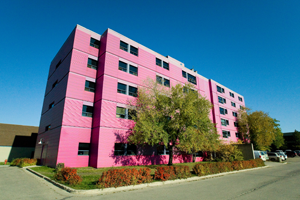 A bright pink apartment building